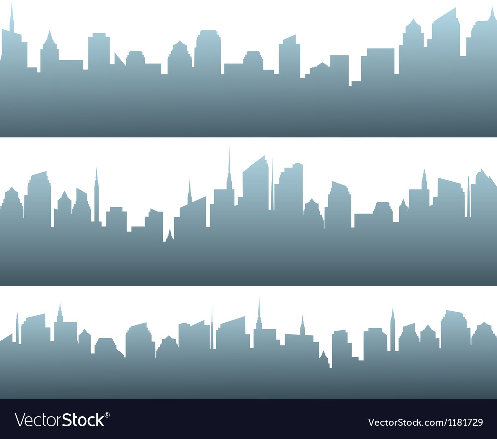 Set of city silhouette with sunrise