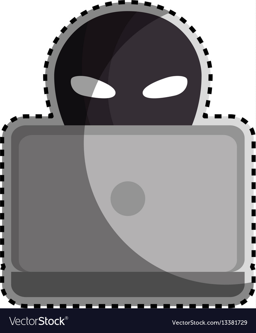Sticker color silhouette with criminal hacker and vector image