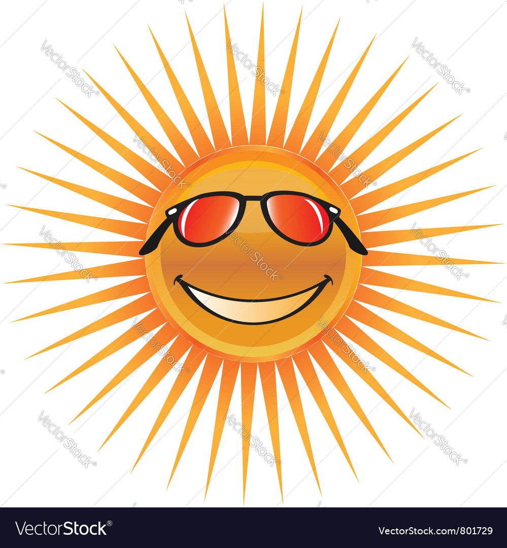 Sun character with sunglasses logo