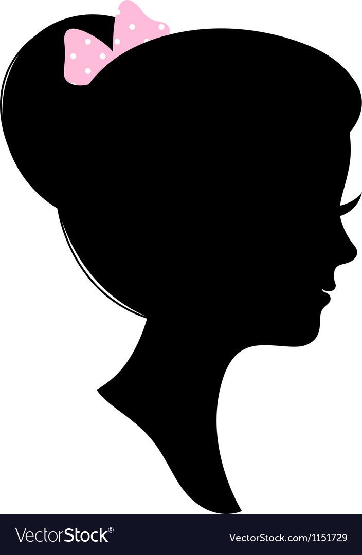 Vintage Woman Head Silhouette Isolated On White Vector Image