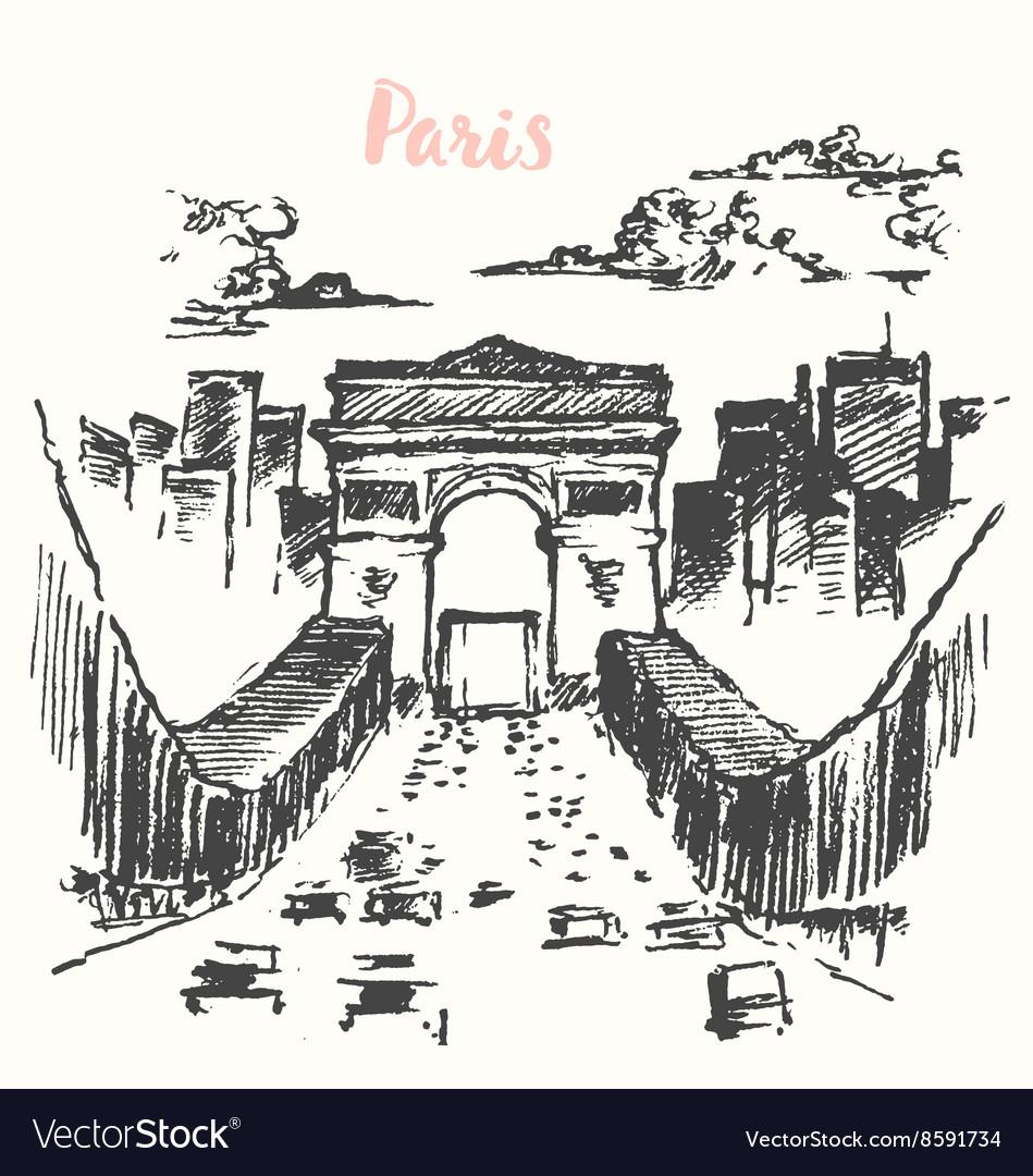 Arch of Triumph Paris vintage drawn