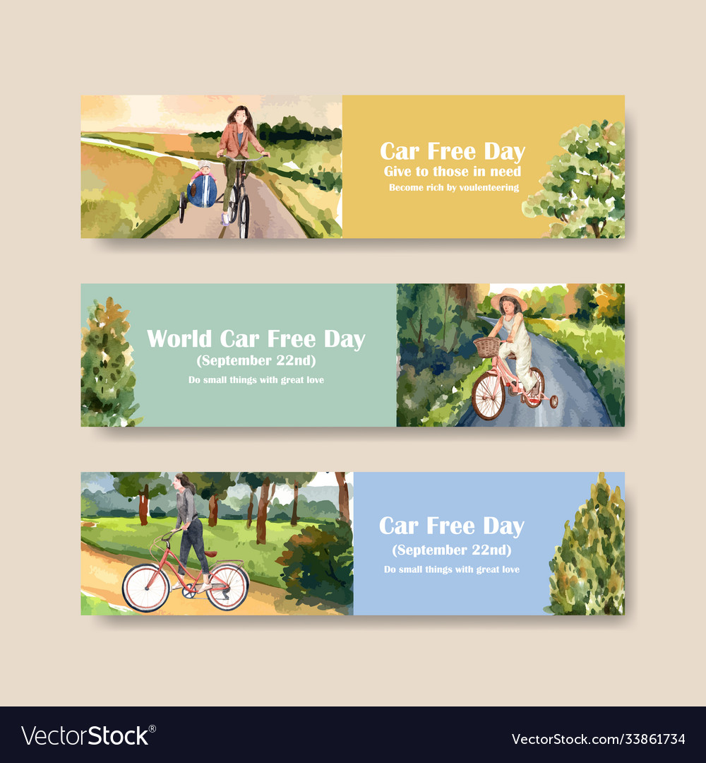 Banner template with world car free day concept