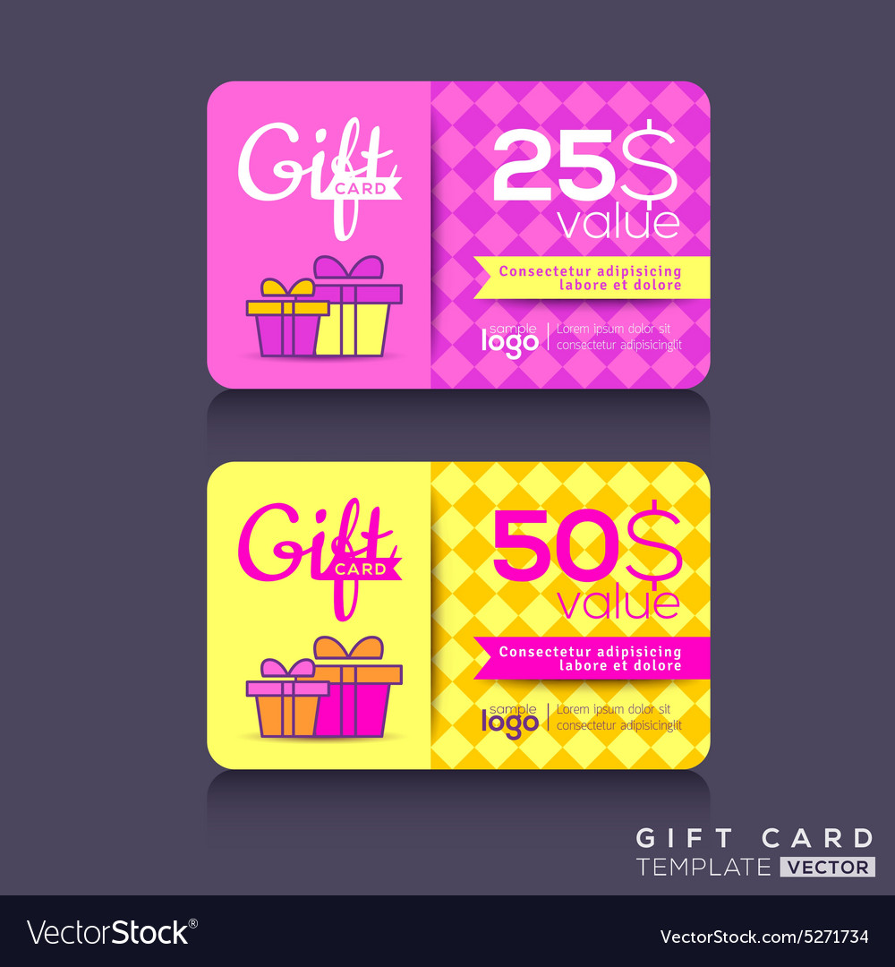 colorful gift card design template royalty free vector image