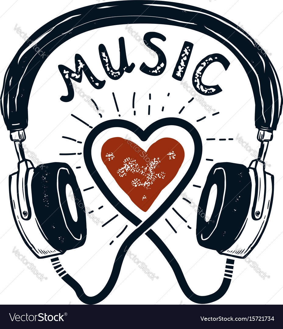 I love music hand drawn headphones design element