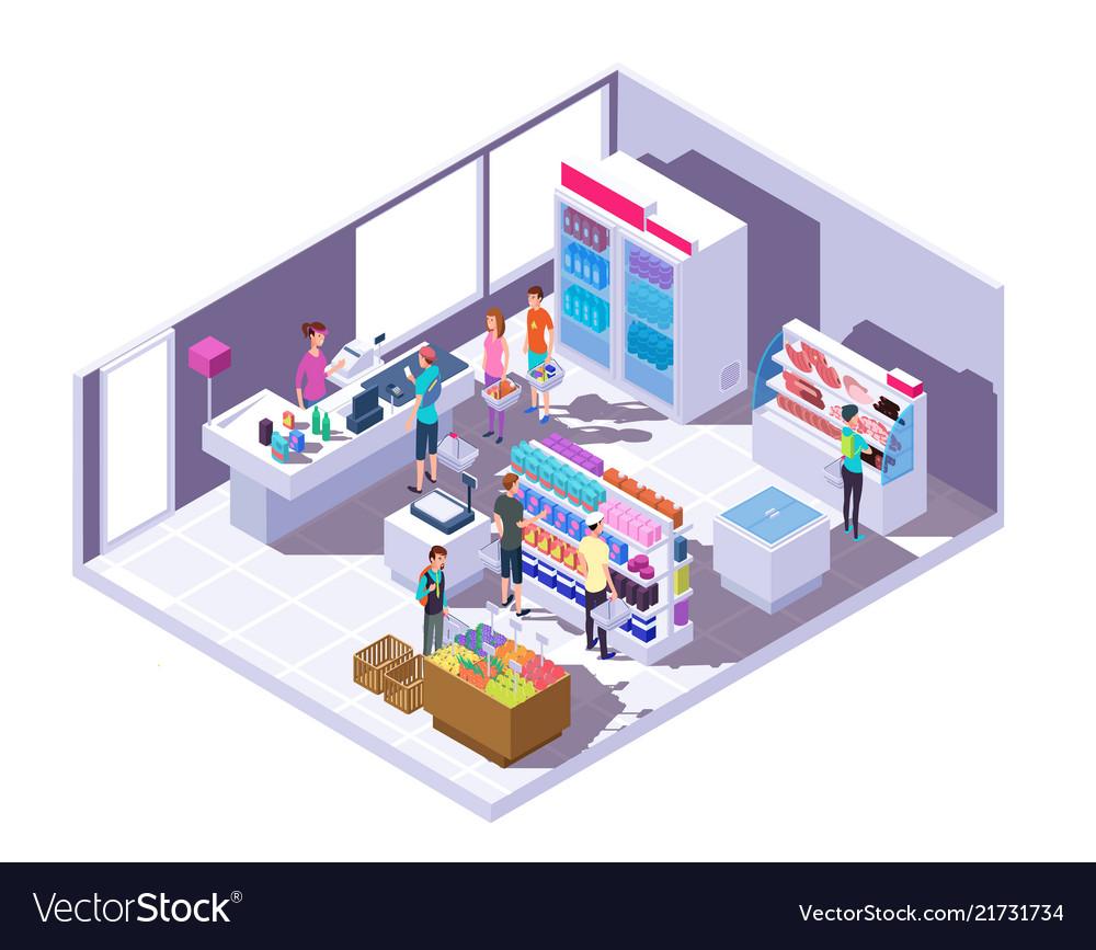 Isometric grocery store interior supermarket