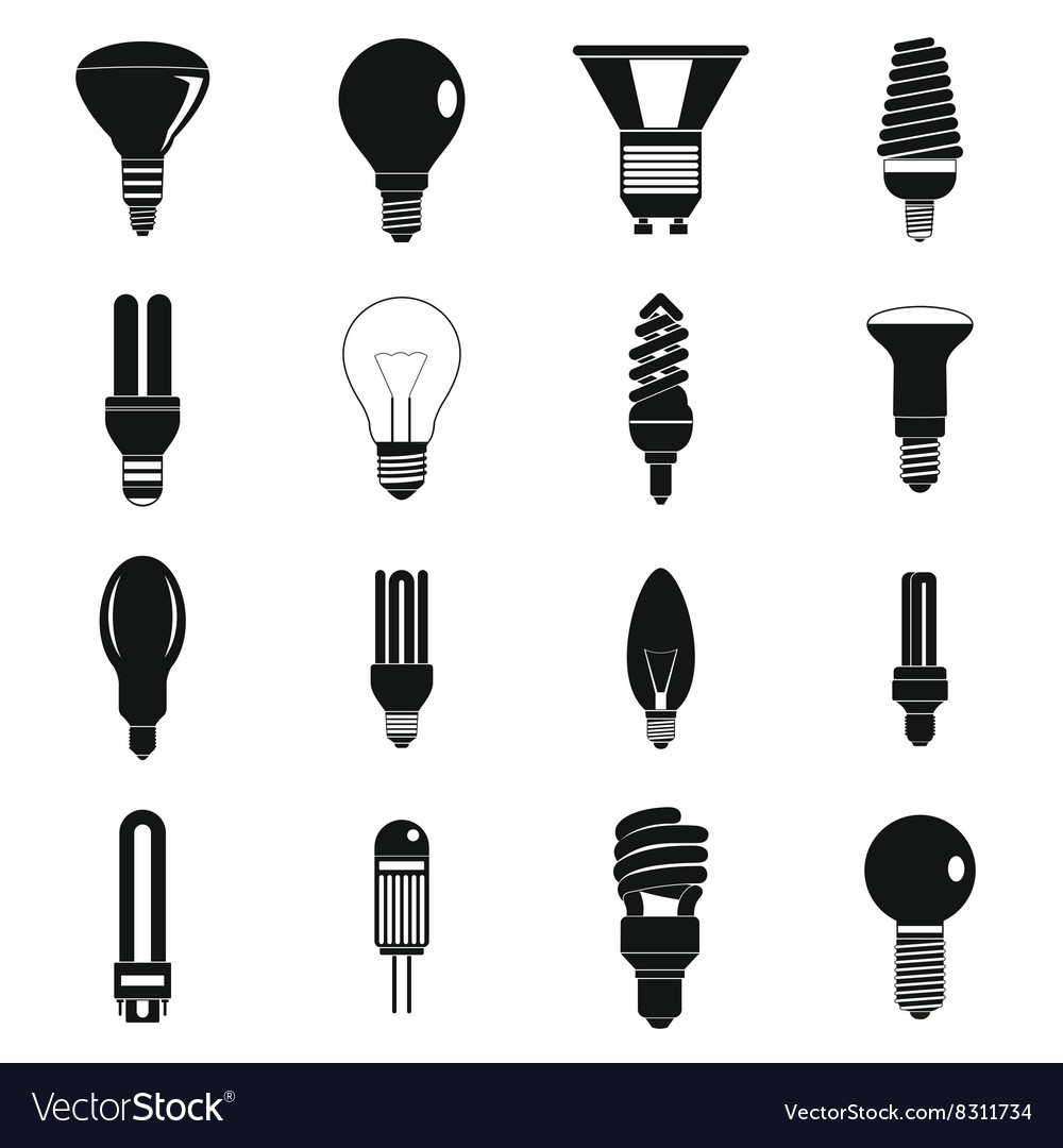 Light bulb icons set simple style