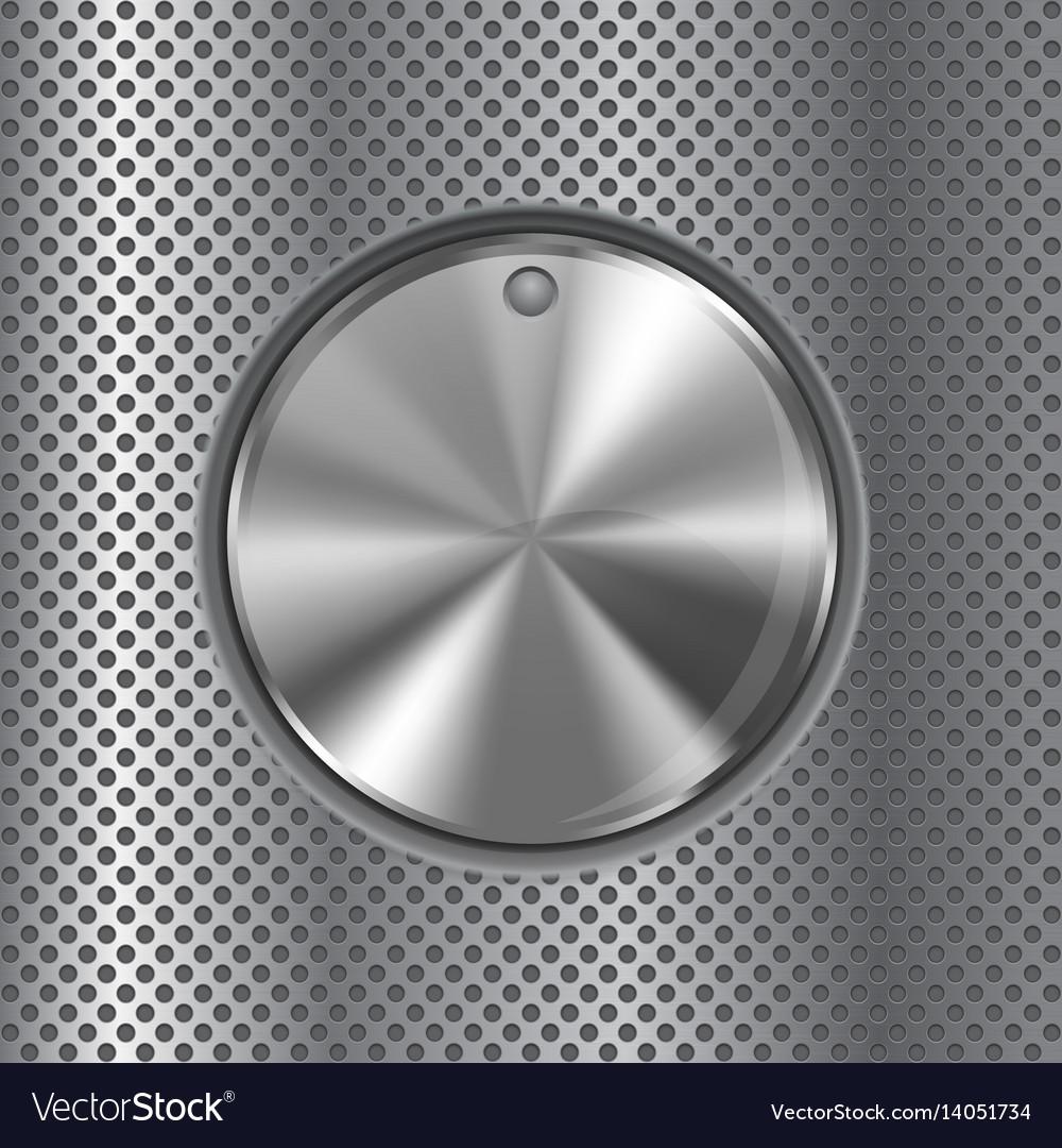 Round knob switch metal button on perforated vector image