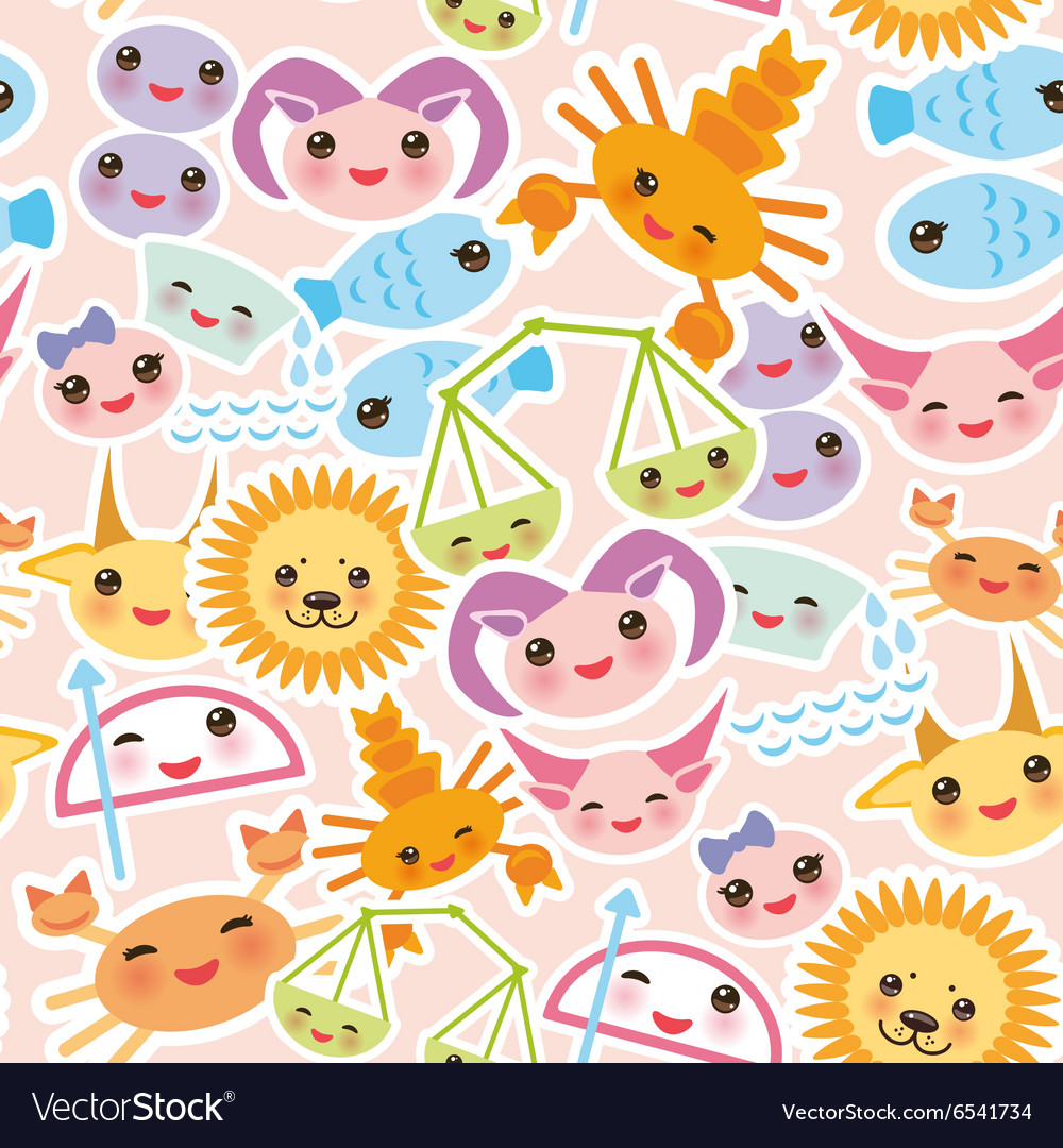 Seamless pattern Funny Kawaii zodiac sign