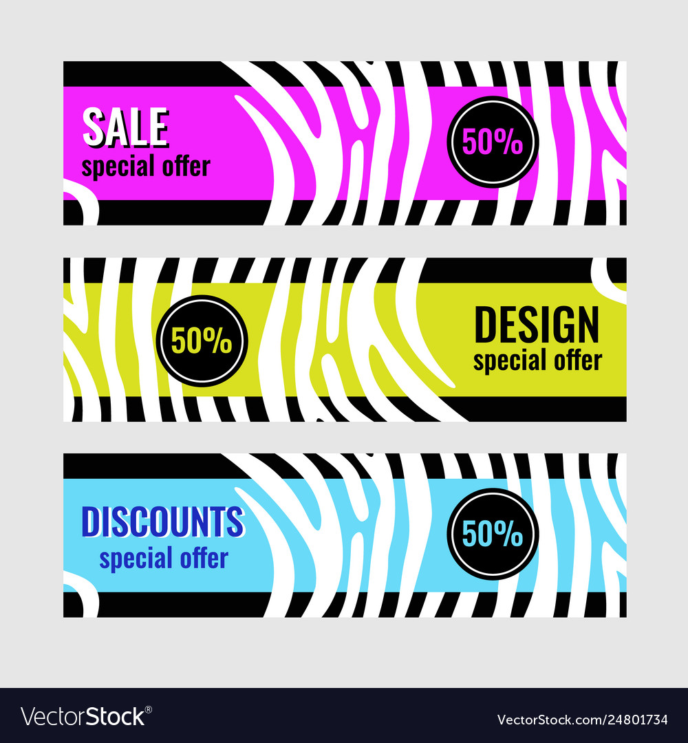 Set horizontal color banners with white stripes on