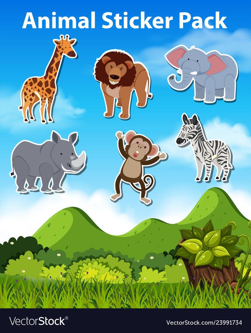 Set of wild animal sticker