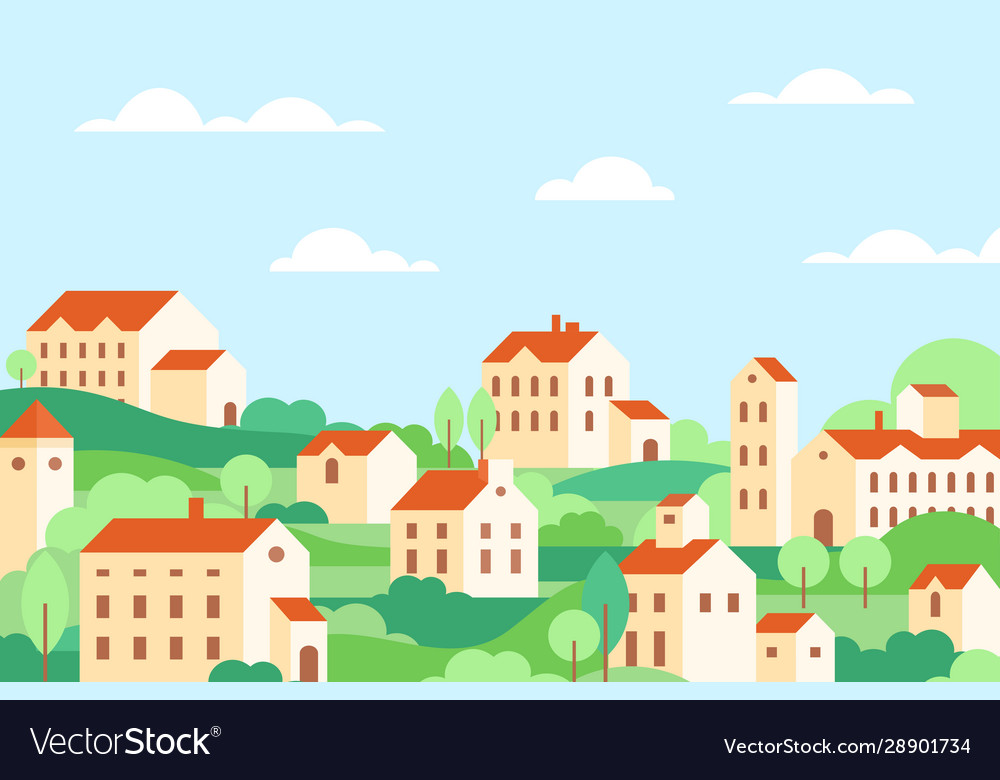 Town houses architecture colorful flat