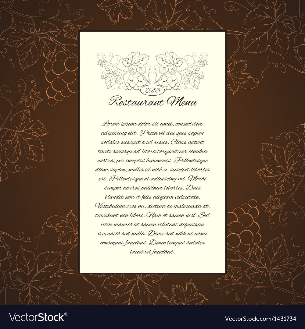 wine menu card template royalty free vector image