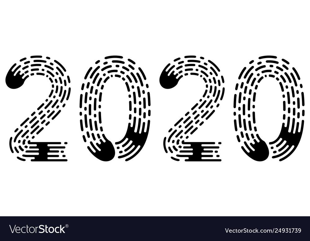2020 lettering figure year fingerprint style font
