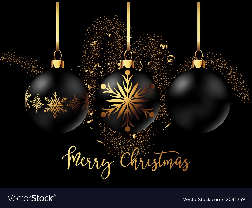 Black Christmas decoration ball with golden ribbon