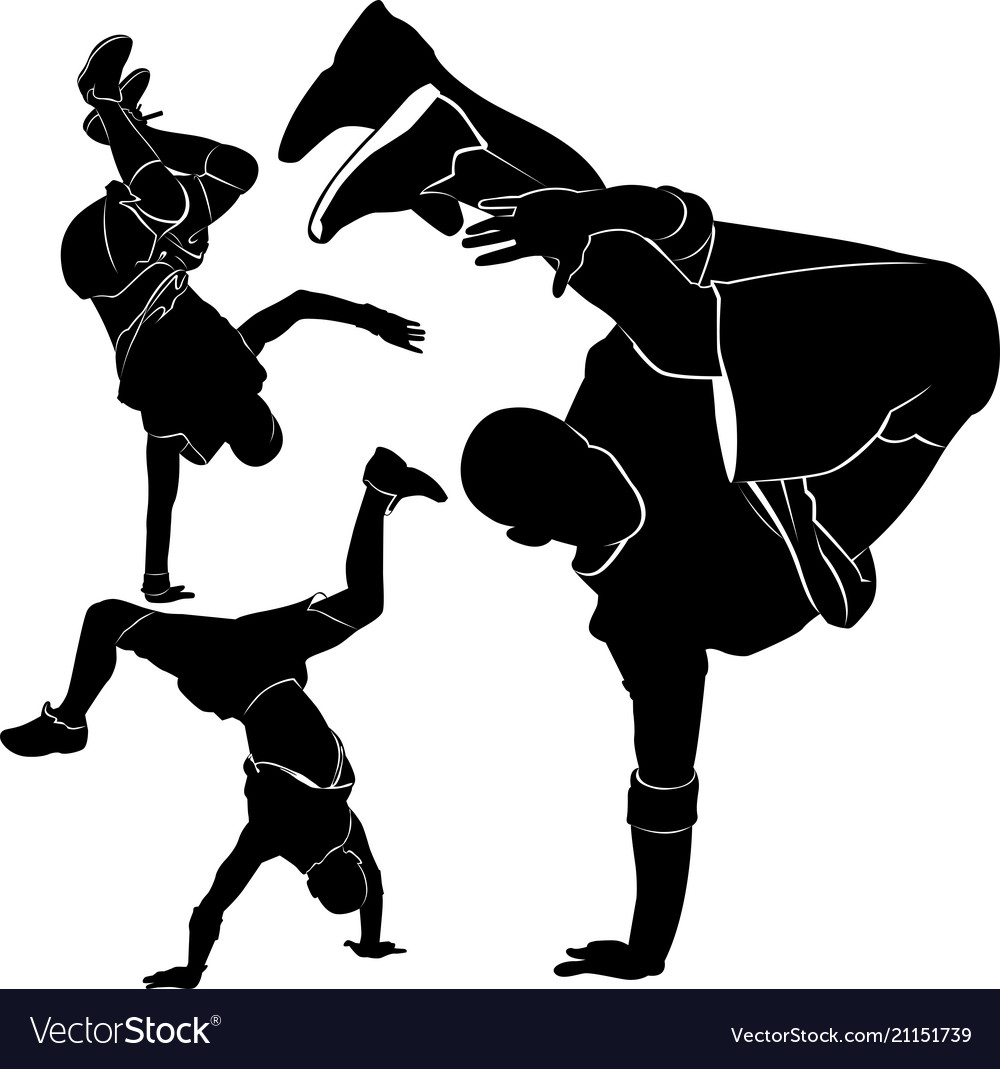 Collection silhouettes breakdancer on a white back