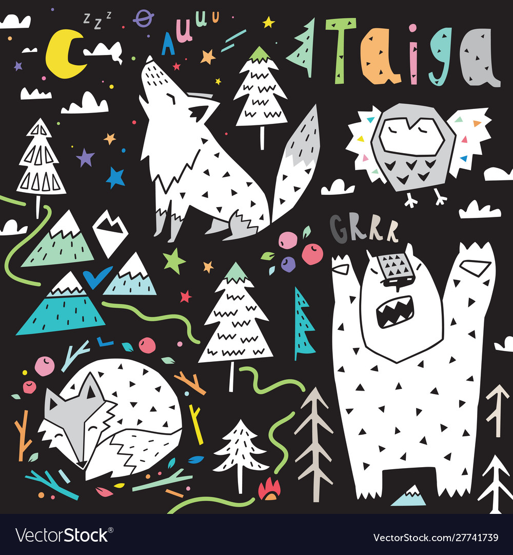 Collection with forest animals - wolf owl bear