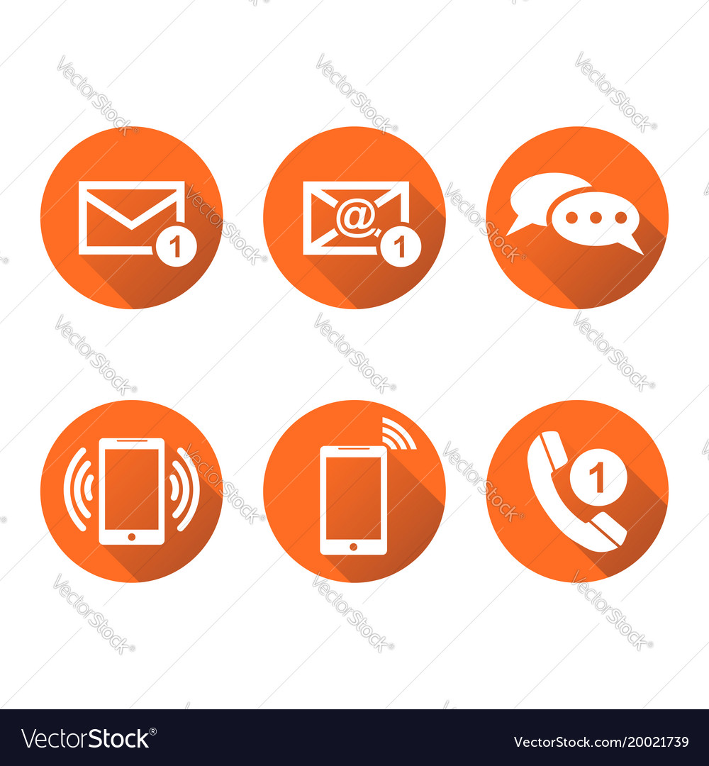 Contact buttons set icons email envelope phone