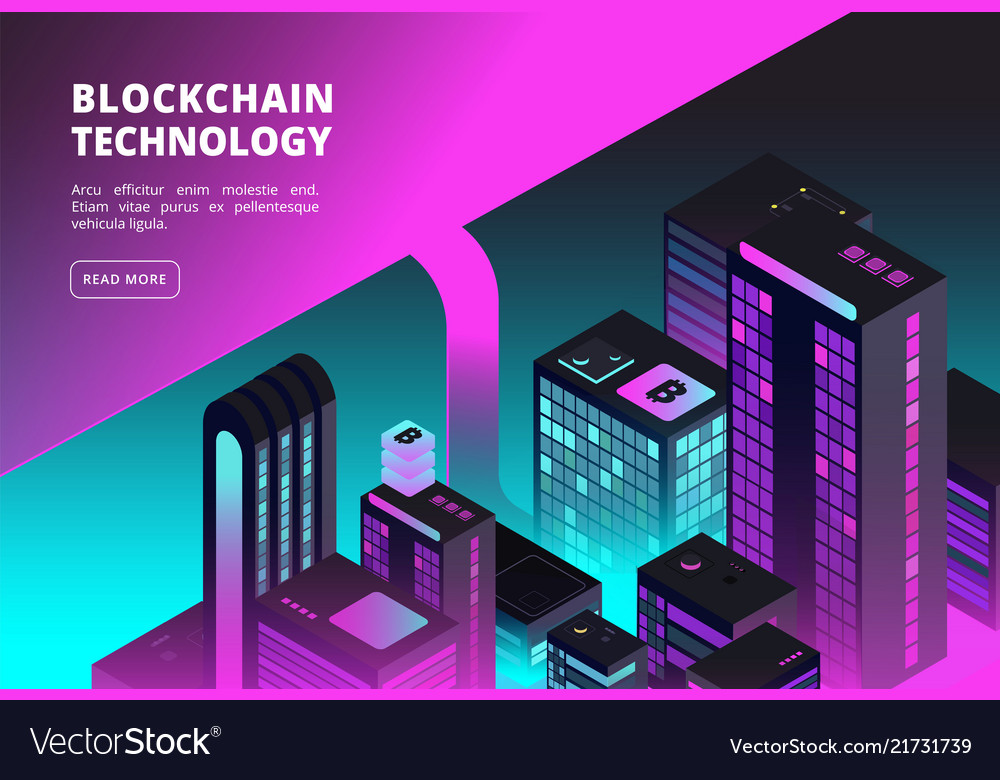 Cryptocurrency isometric concept blockchain and