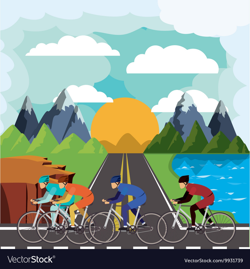 Cycling race with beautiful landscape background