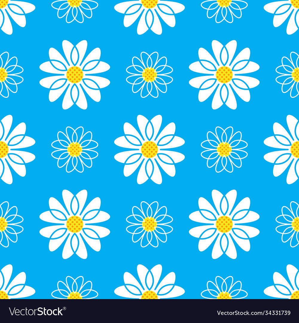 Daisy seamless pattern white daisies on a blue