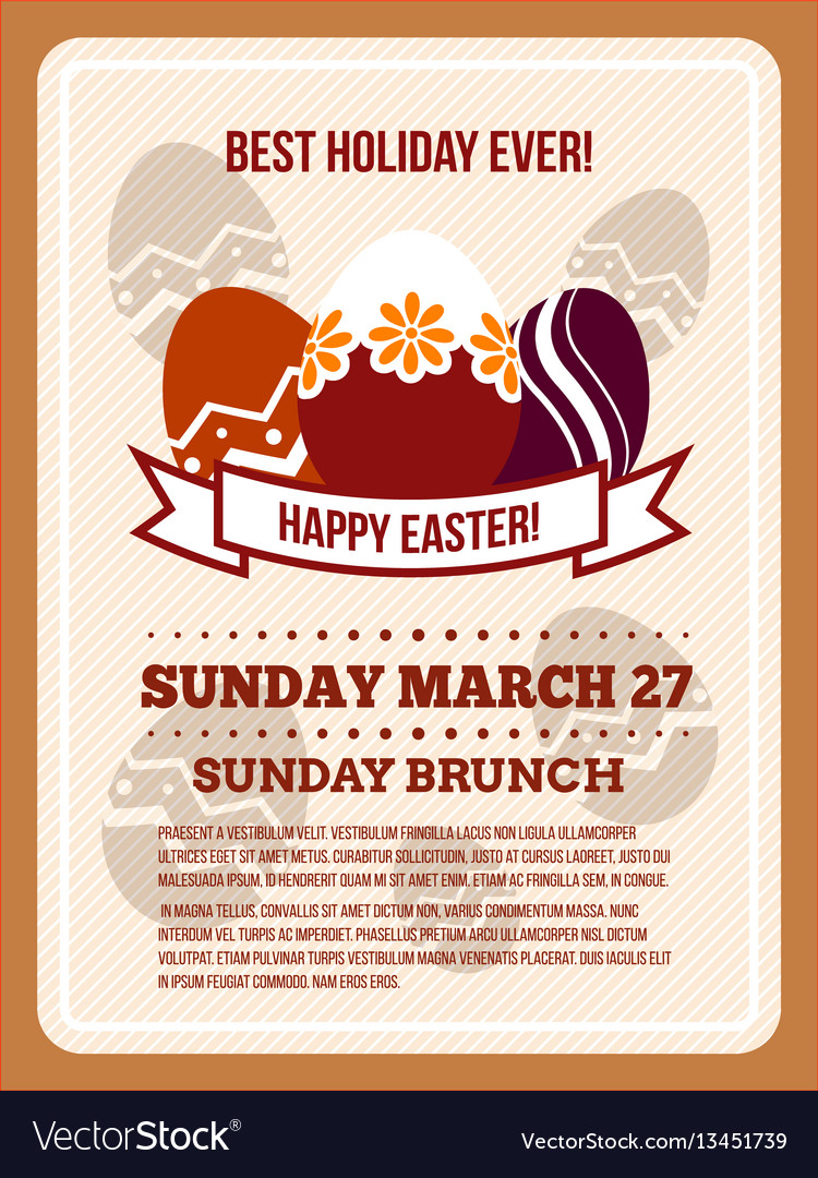 Easter invitation flyer poster template