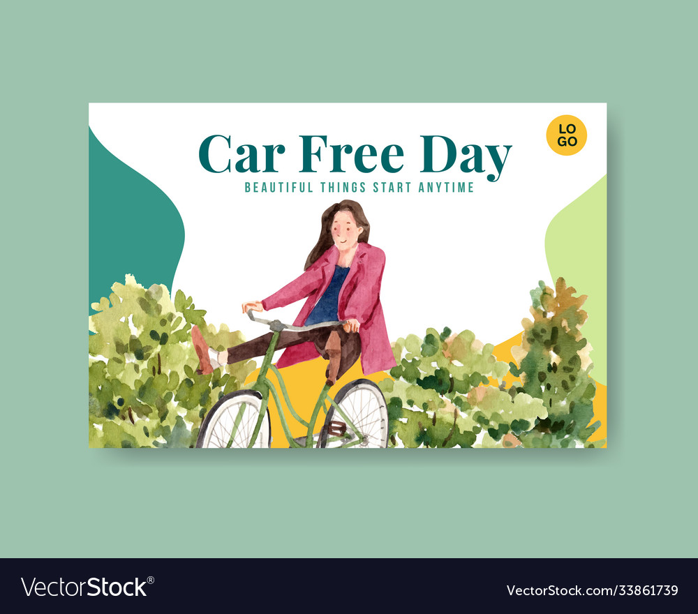 Facebook template with world car free day concept