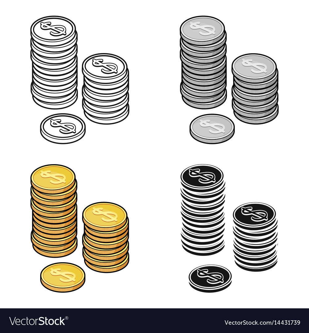 Golden coins icon in cartoon style isolated on