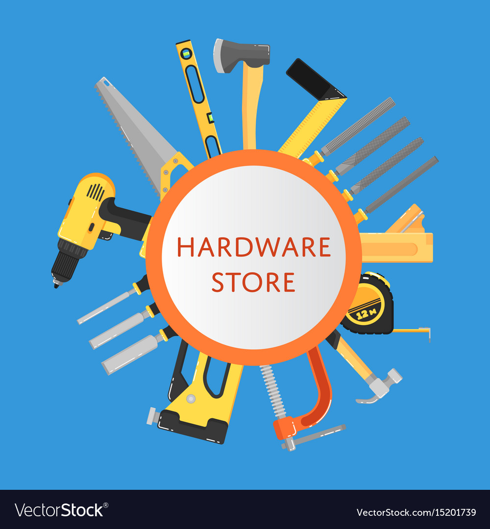 hardware store banner with building tools vector image  vectorstock