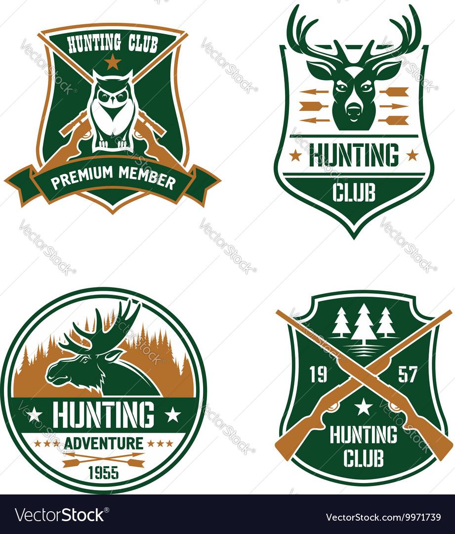 Hunting club shields set Hunt sports emblems vector image