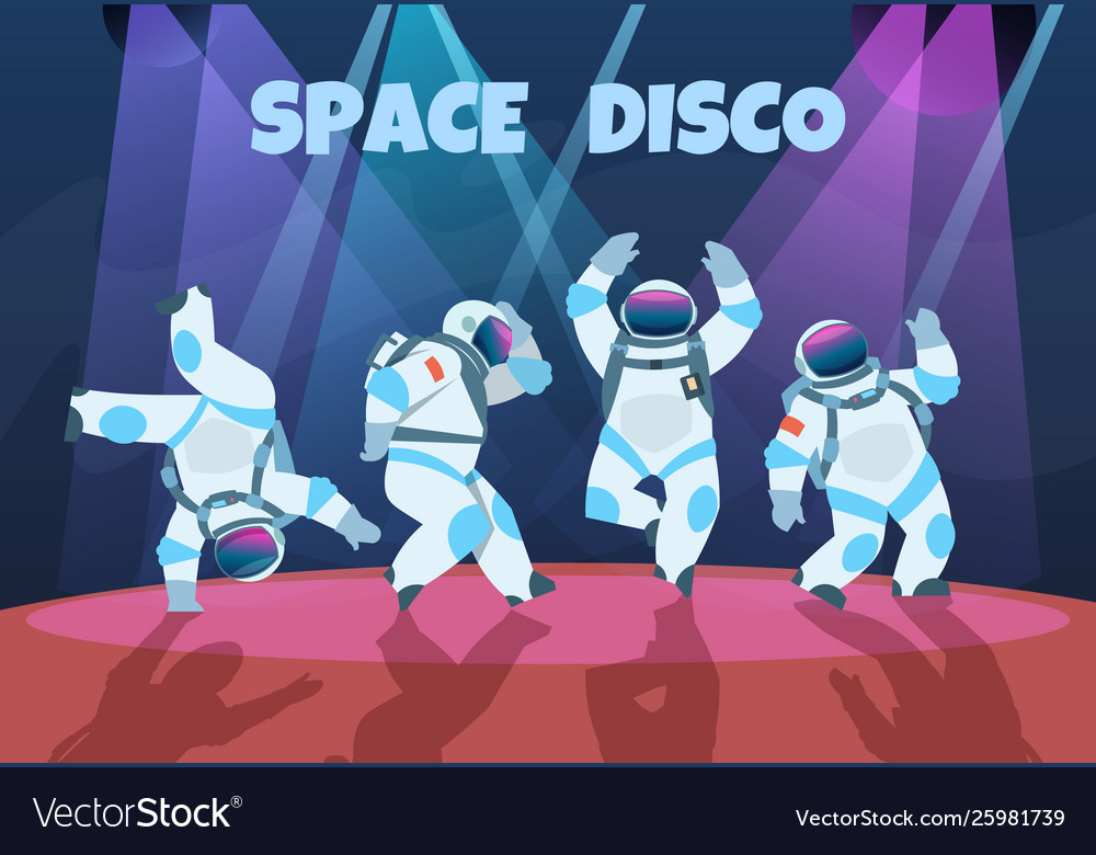 Party astronauts retro dancing spaceman disco