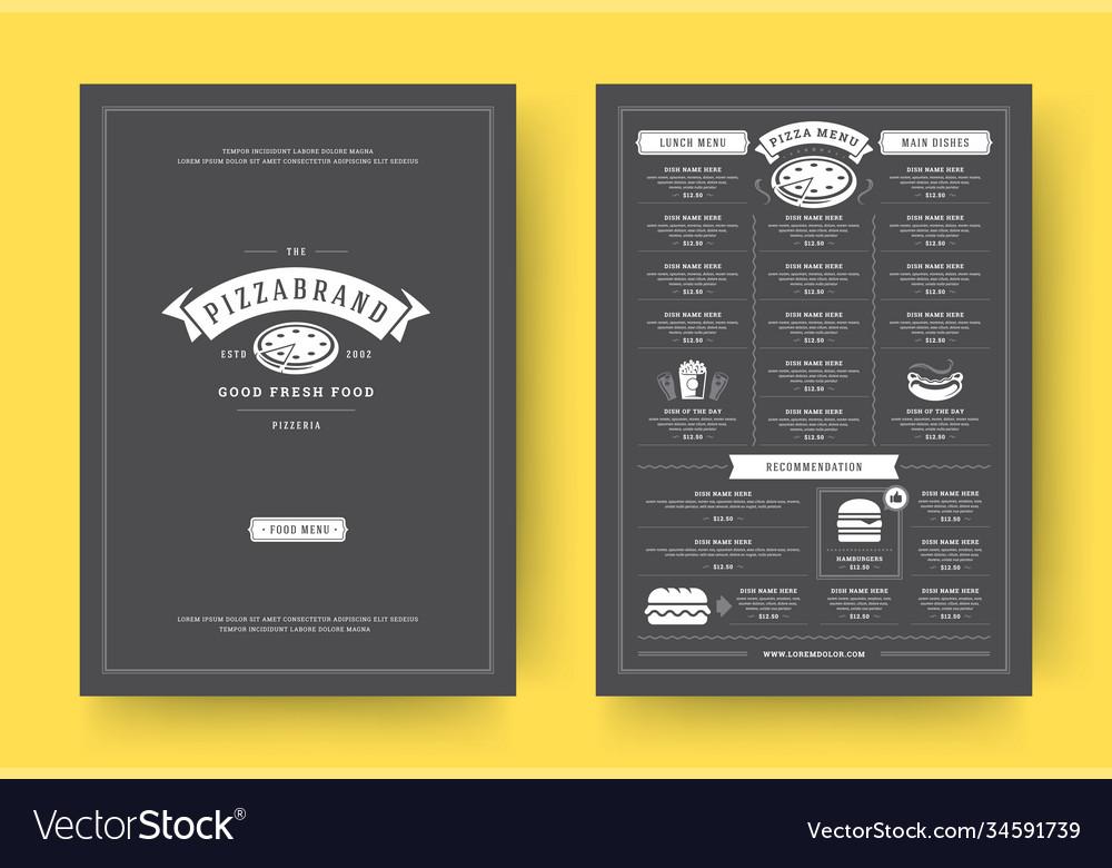 Pizza restaurant menu layout design brochure or