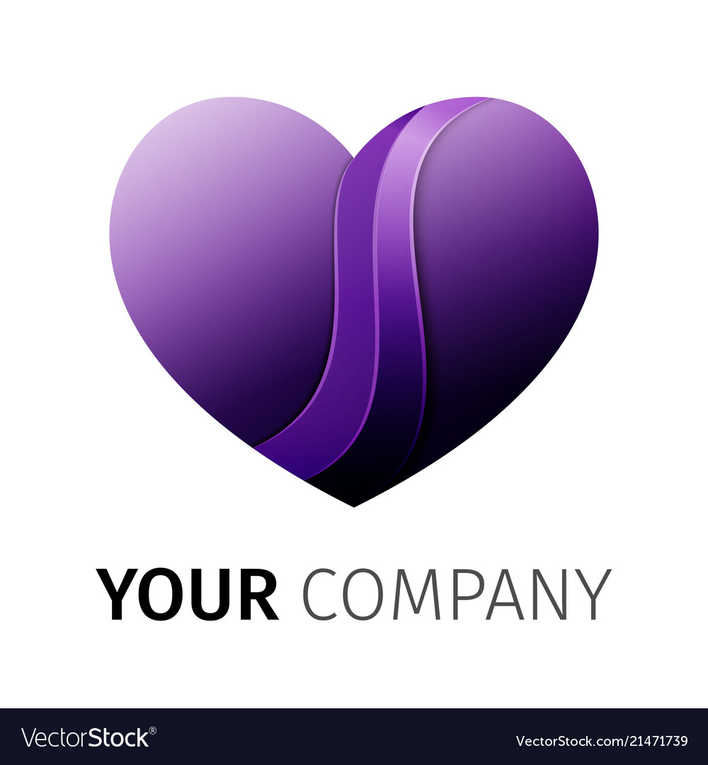 Purple heart logo design ribbon