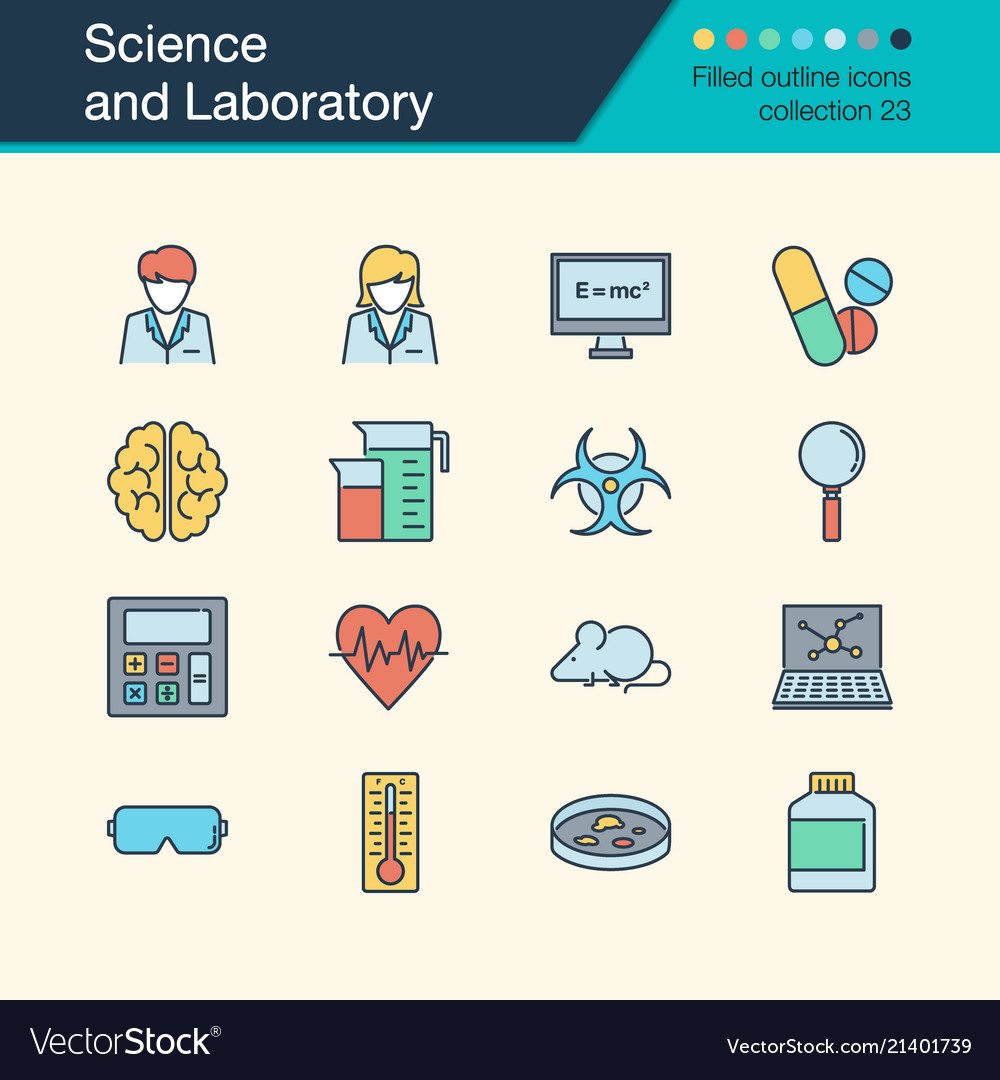 Science and laboratory icons filled outline