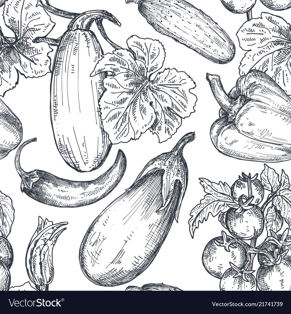 Seamless pattern with hand drawn vegetables