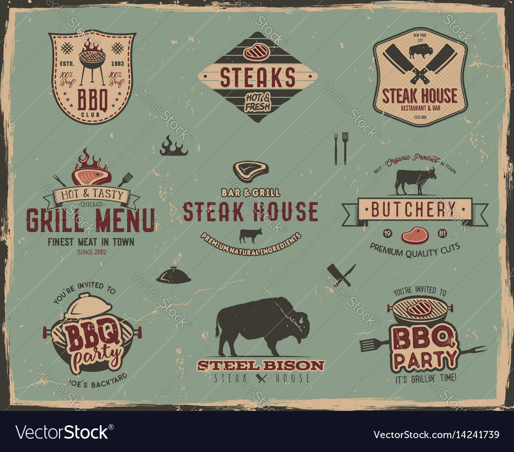 Vintage grill and steak house logo templates vector image