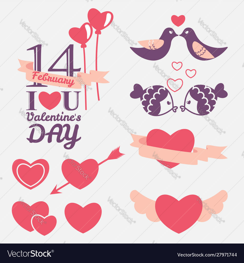 14 february valentines day design elements set