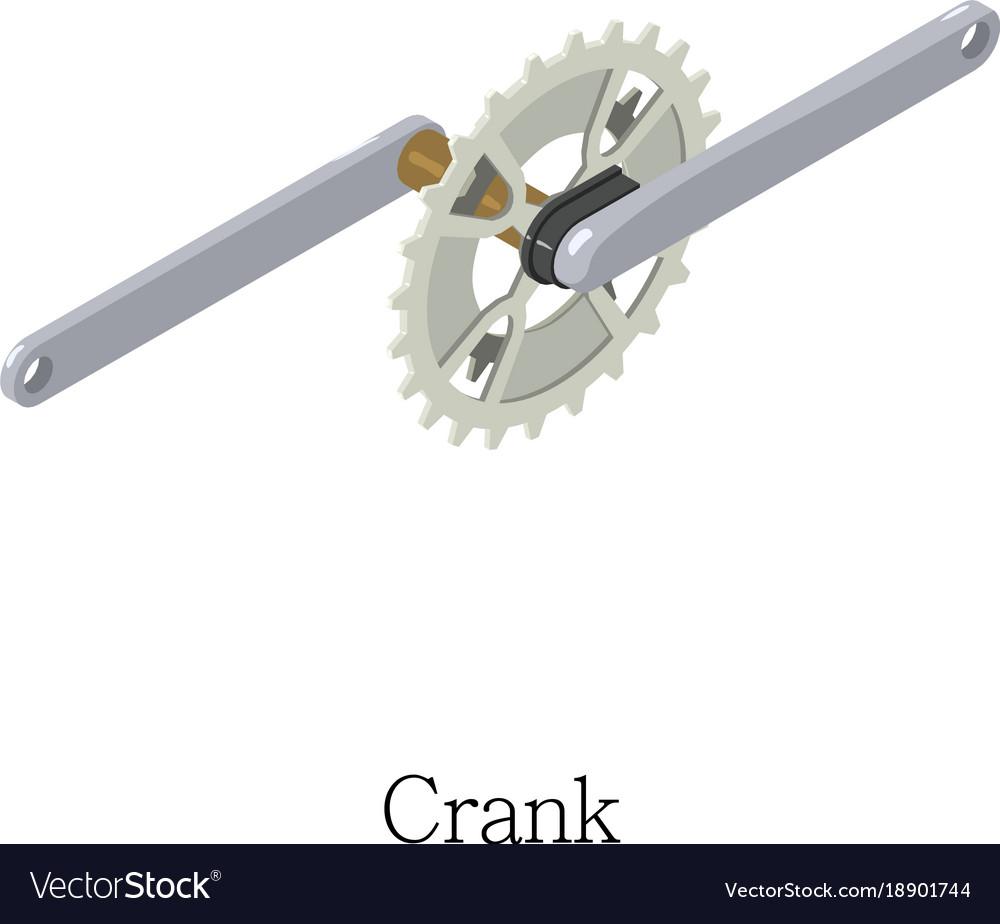 Bicycle crank icon isometric 3d style