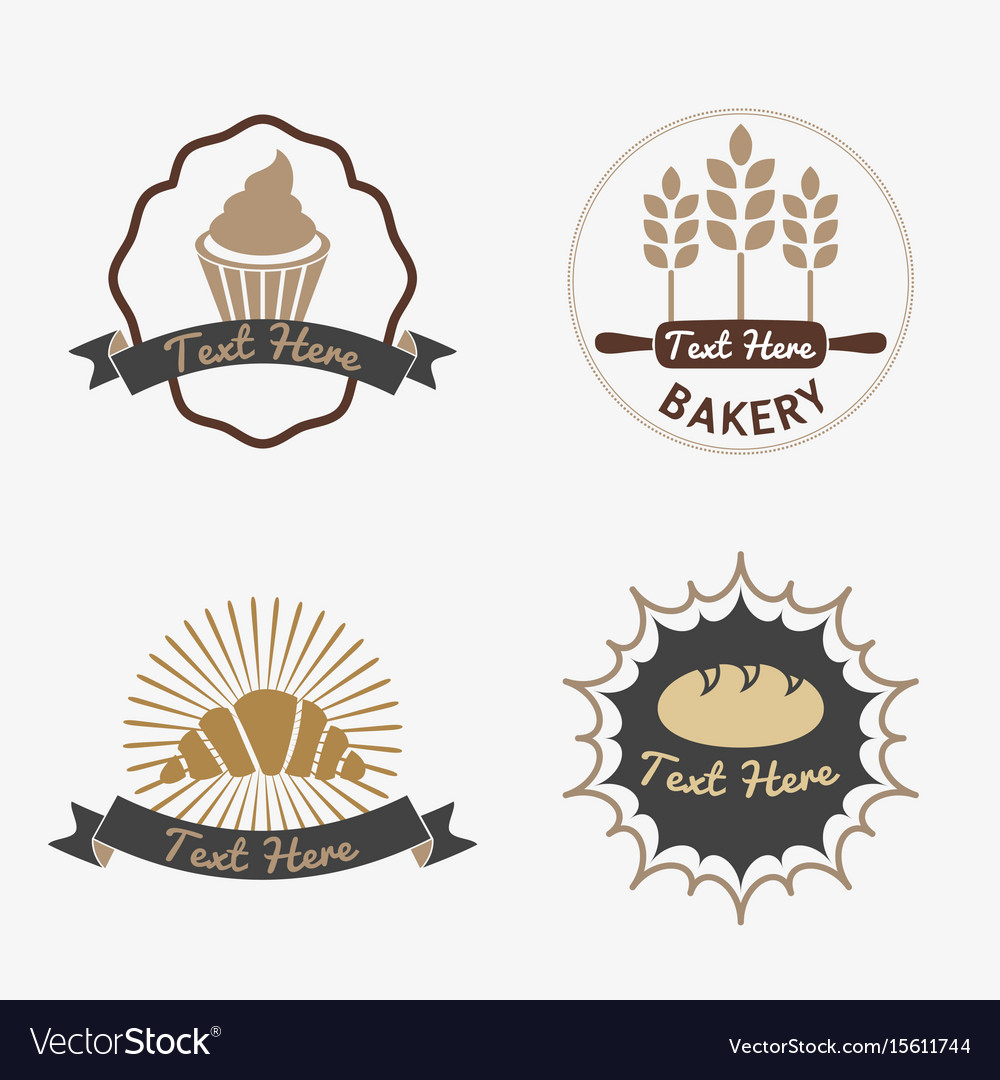 Collection of vintage retro bakery logo badges vector image