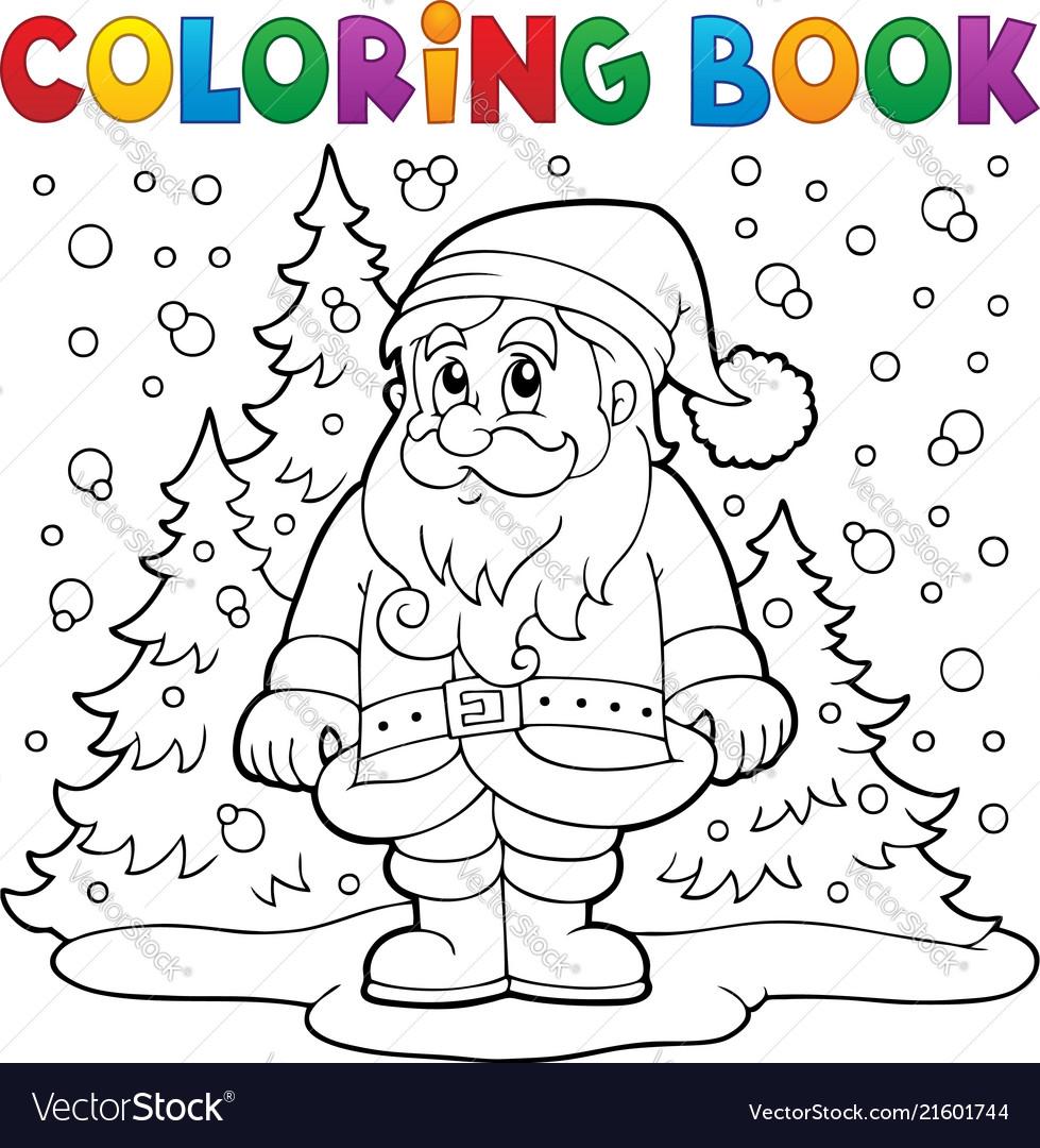 Coloring book santa claus in snow 3 Royalty Free Vector