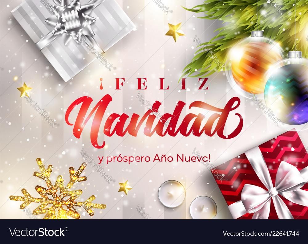 feliz navidad y prospero ano nuevo merry vector image vectorstock