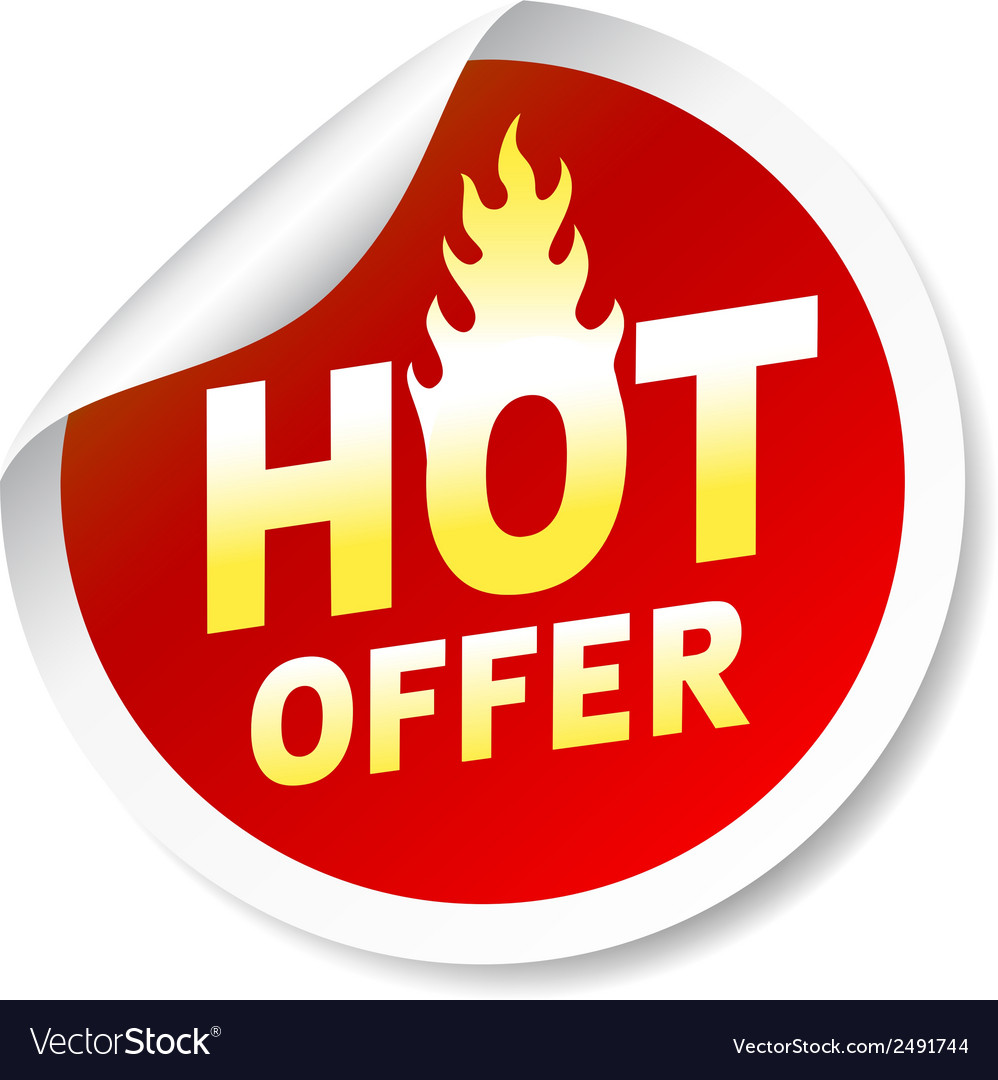 Hot ofer sticker badge with flame