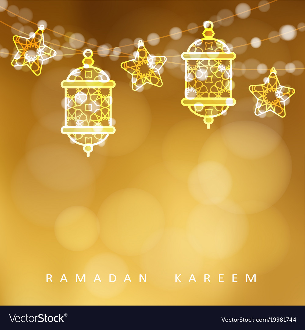 Islamic greeting card garlands with oriental vector image m4hsunfo