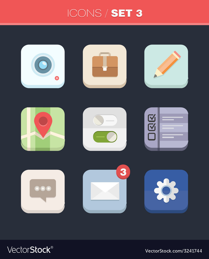 Modern flat icons collection in stylish colors