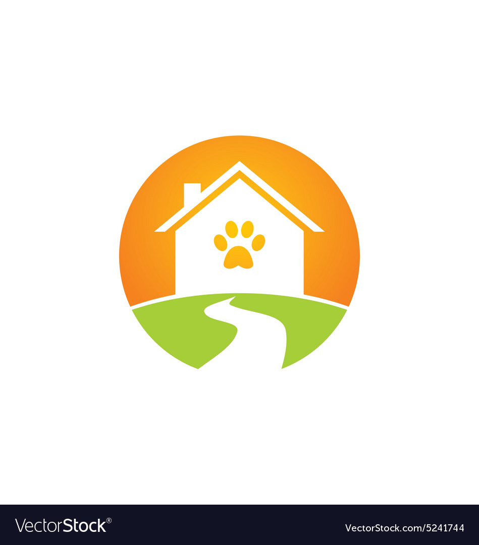 Pet house dog and cat logo vector image