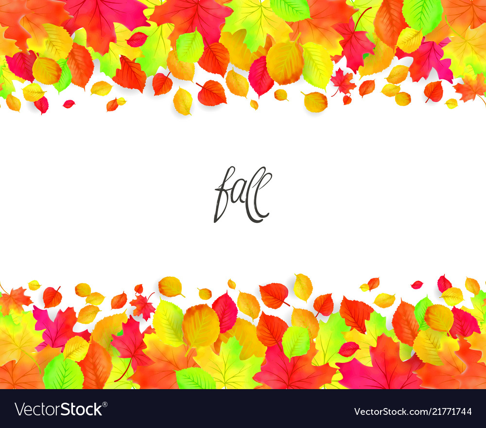 Seamless border pattern of falling autumn leaves