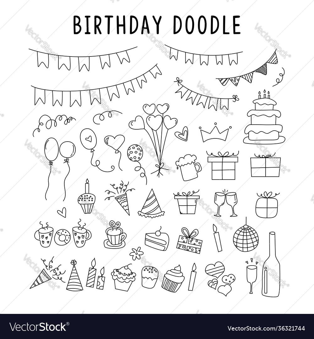 Set element doodle decoration birthday set of