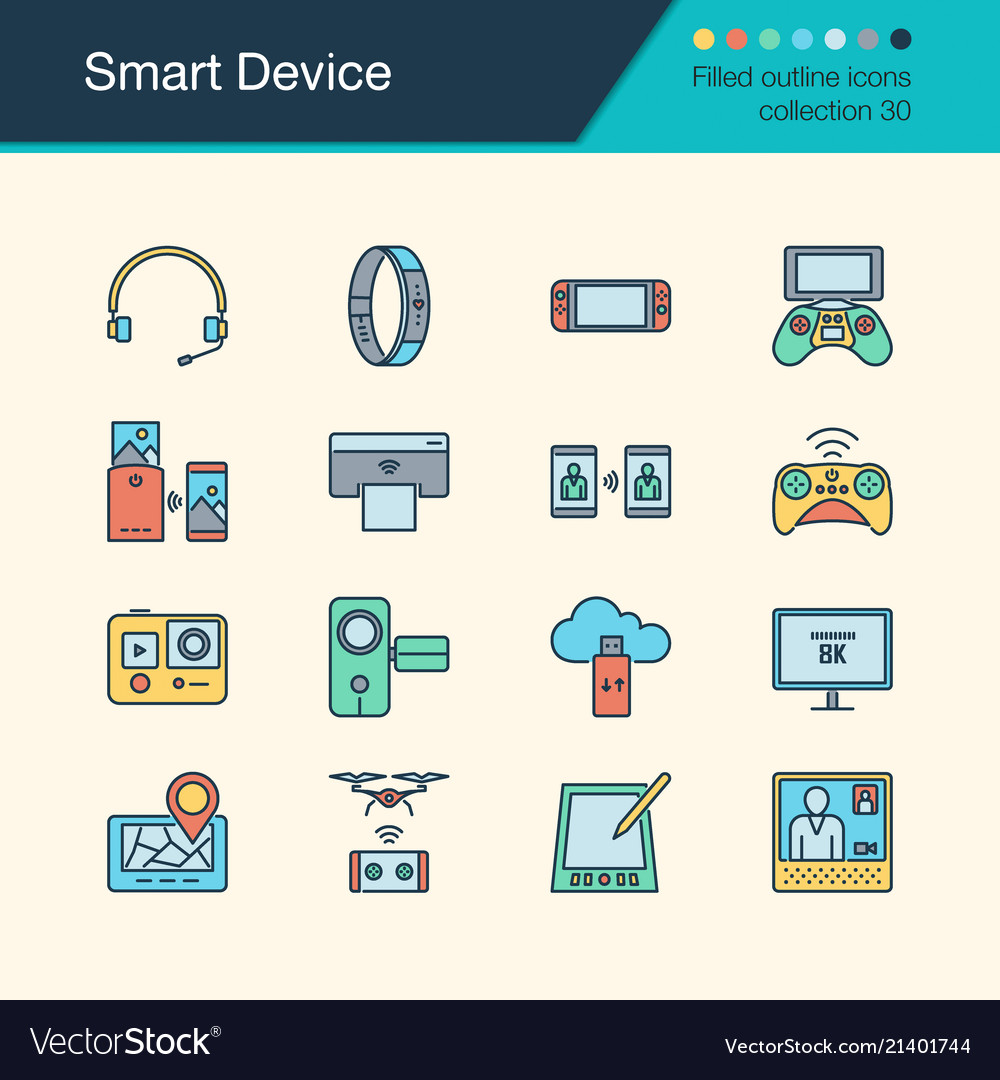 Smart device icons filled outline design
