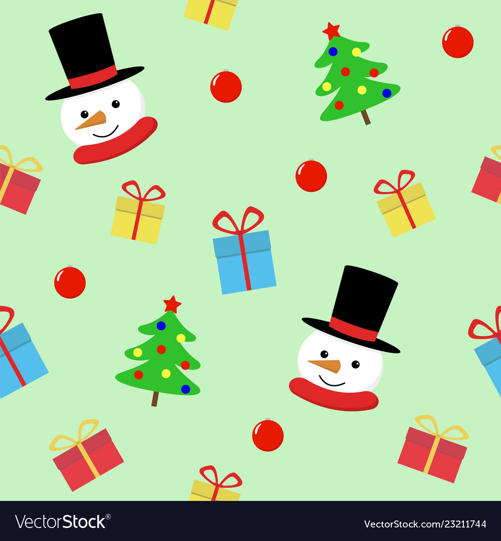 Snow man with gift seamless pattern cute