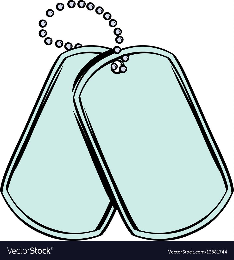 Soldier identity tag icon cartoon vector image