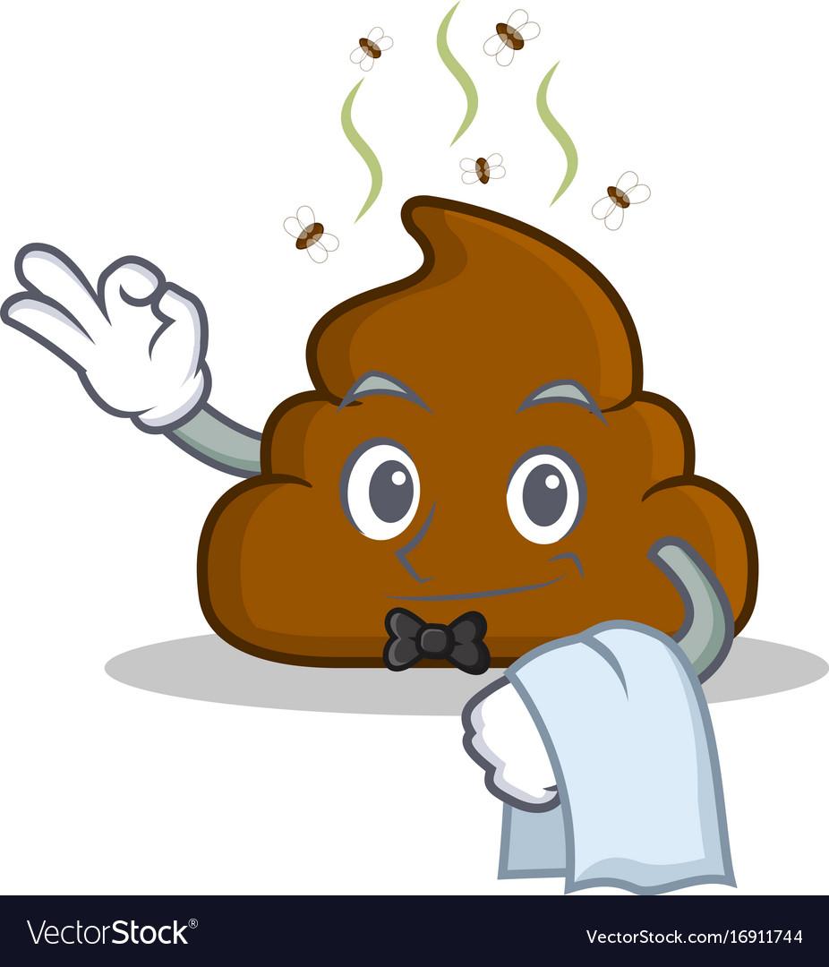 Waiter poop emoticon character cartoon
